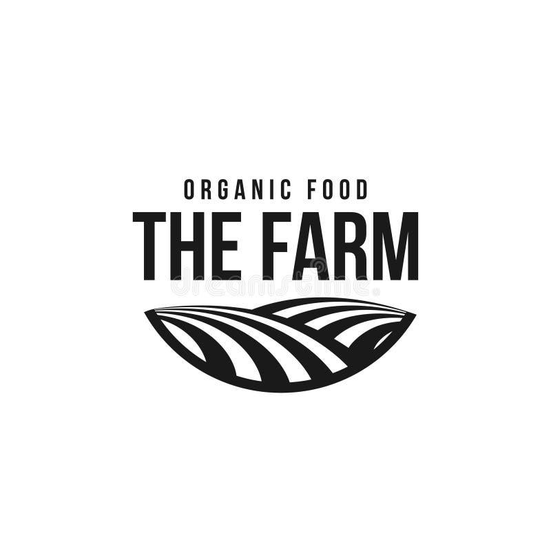 农厂商标模板 草甸剪影,与天际的土地标志在透视 农厂食物徽章 库存例证