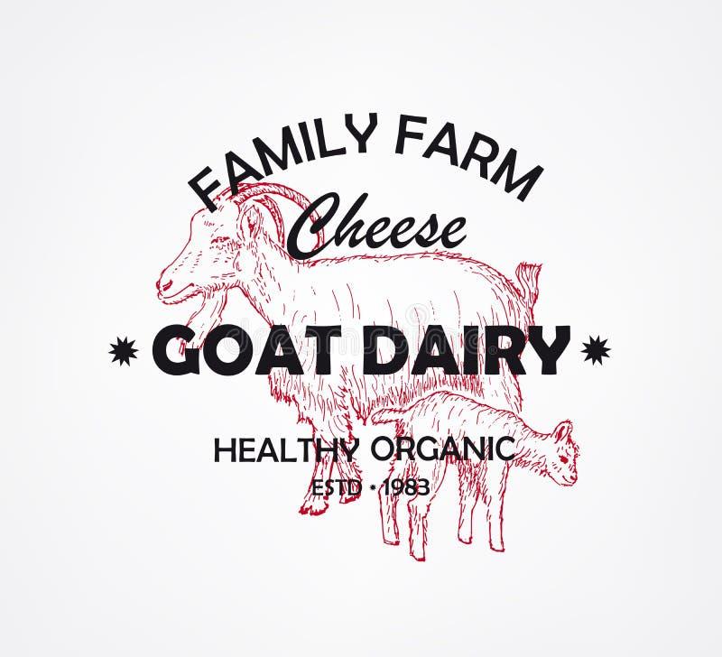 农厂山羊乳制品 传染媒介例证象征或商标 库存例证