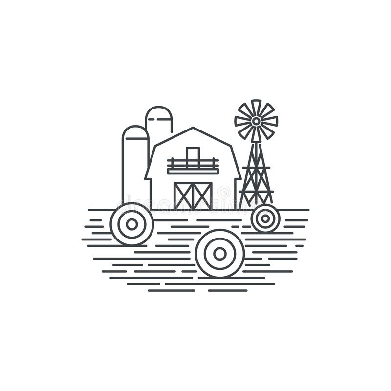 农厂干草线象 概述在白色背景隔绝的干草领域和谷仓传染媒介线性设计的例证 农场 向量例证