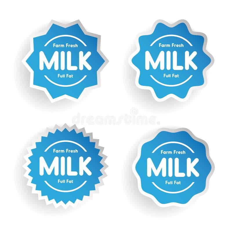 农厂新鲜的牛奶-装满凝固肥油的标号组 库存例证