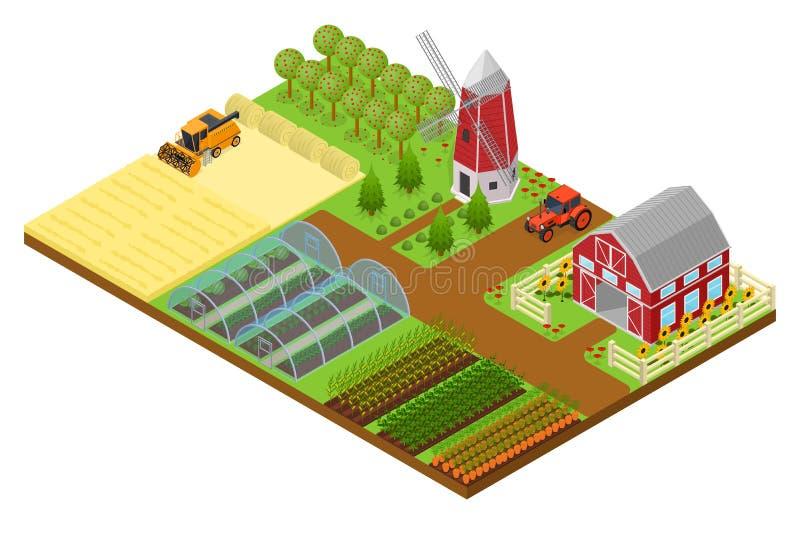 农厂等轴测图 向量 向量例证