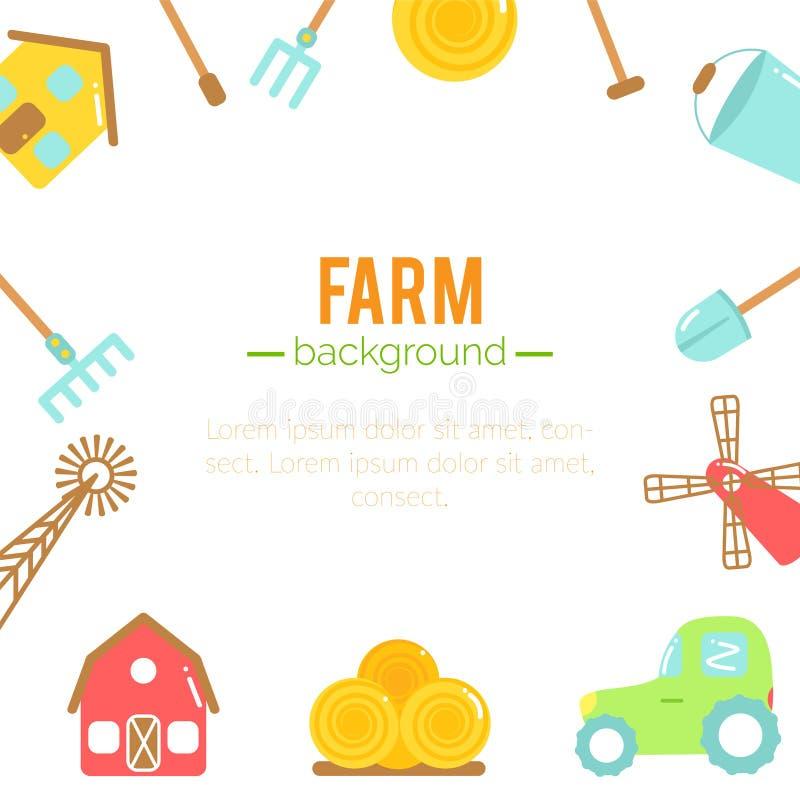 农厂背景 种田的动画片元素 库存例证