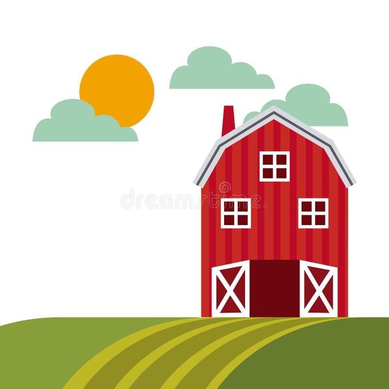 农厂谷仓设计 向量例证