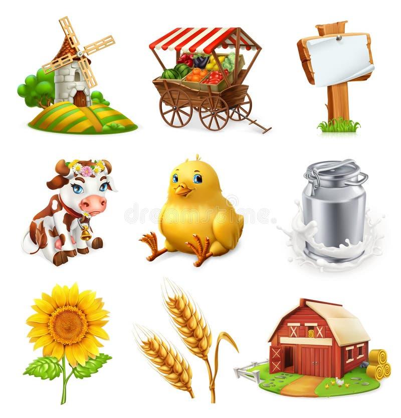 农厂集合 农业植物、动物和大厦 适应图标 库存例证