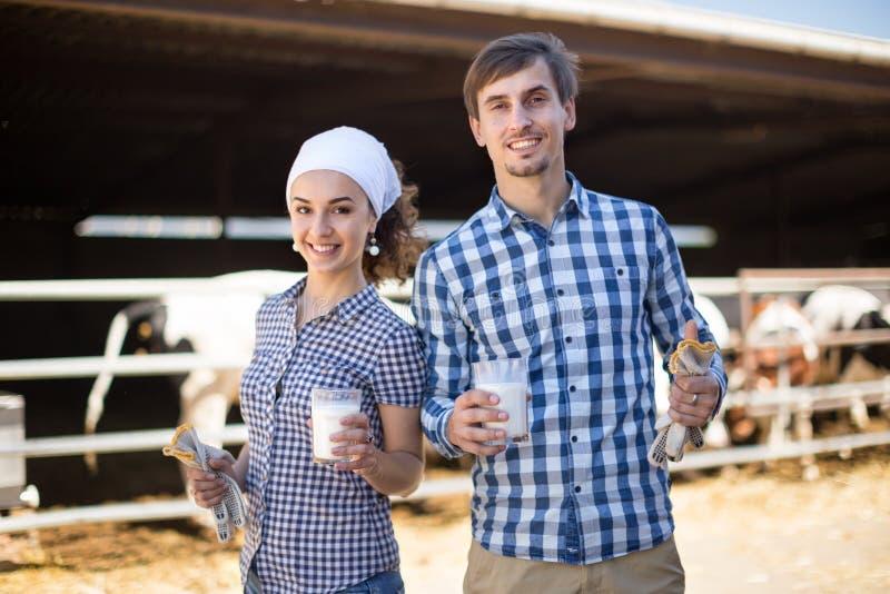 农厂warkers夫妇摆在牛棚的 库存照片