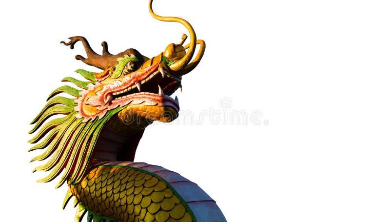 农历新年在白色背景的龙装饰 中国雕塑设计 龙题头 新年好 龙装饰 免版税库存图片