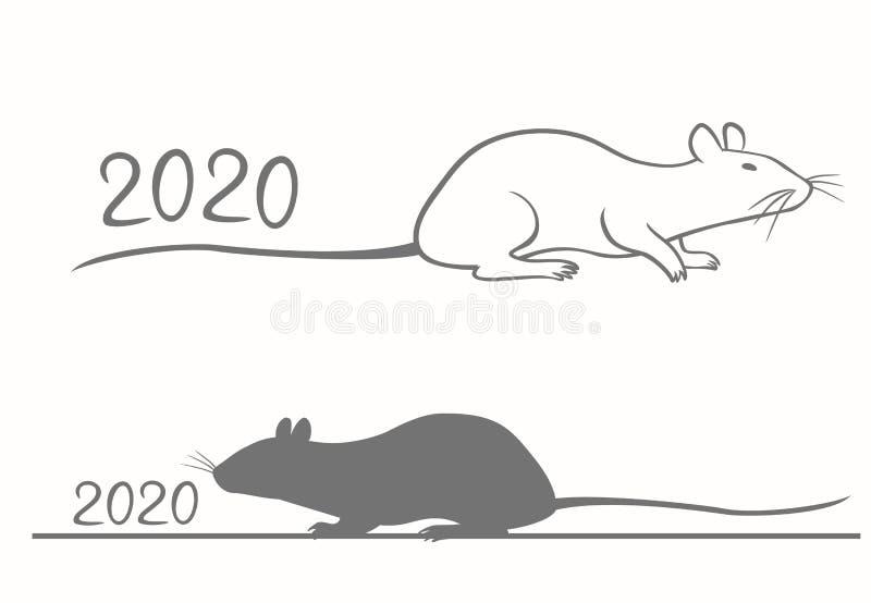 农历新年贺卡2020年 皇族释放例证