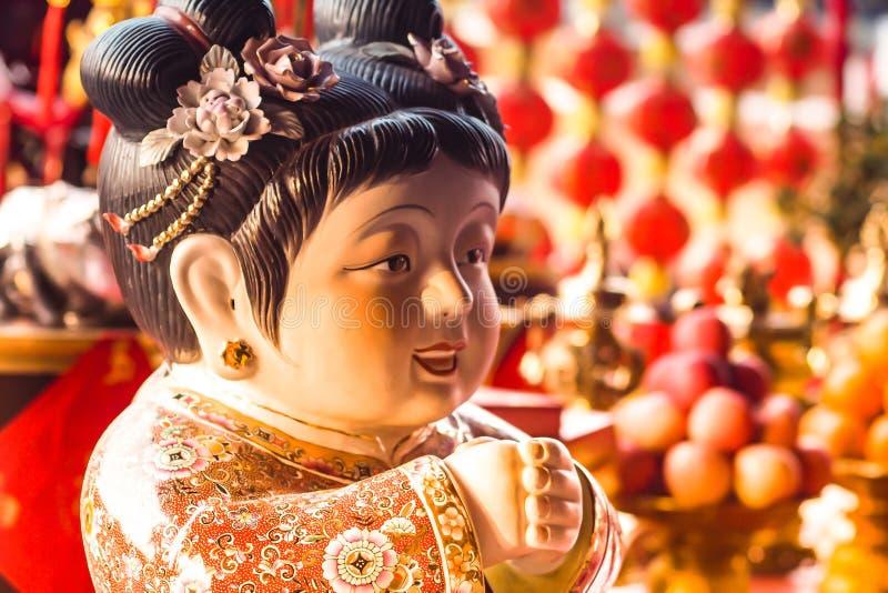 农历新年,香,红色香火罐牺牲上帝 图库摄影