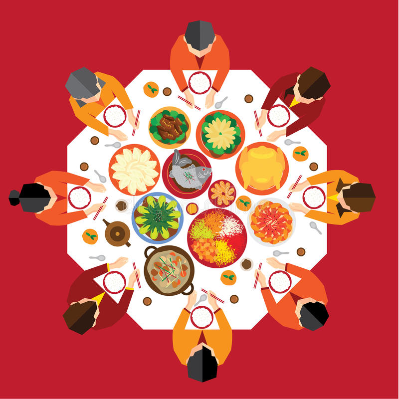 农历新年团聚晚餐 向量例证