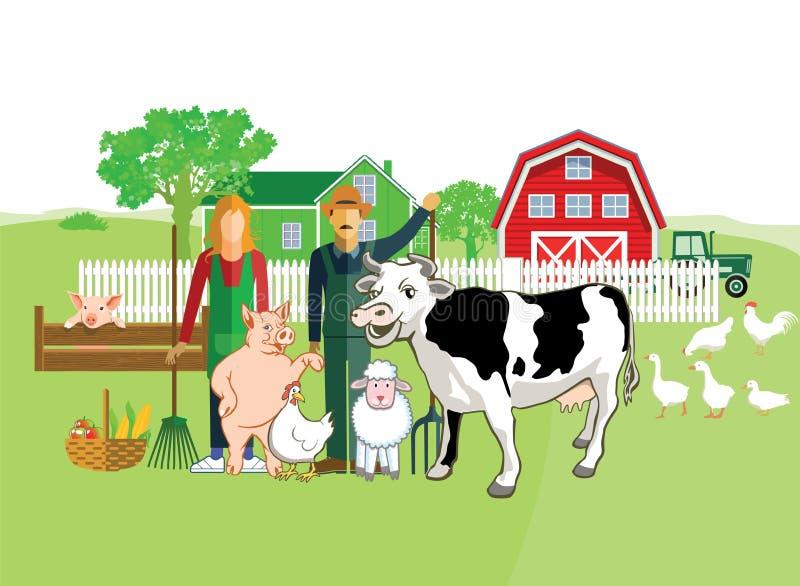 农场、农夫和动物 向量例证