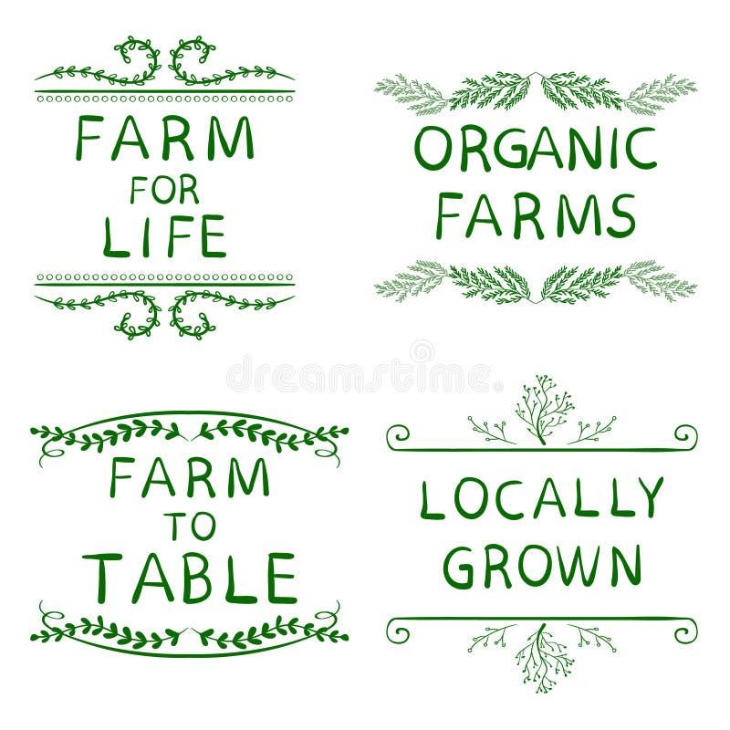 农场为生活,有机农场,制表的农场,当地增长 在白色隔绝的手拉的印刷元素 绿色 库存例证