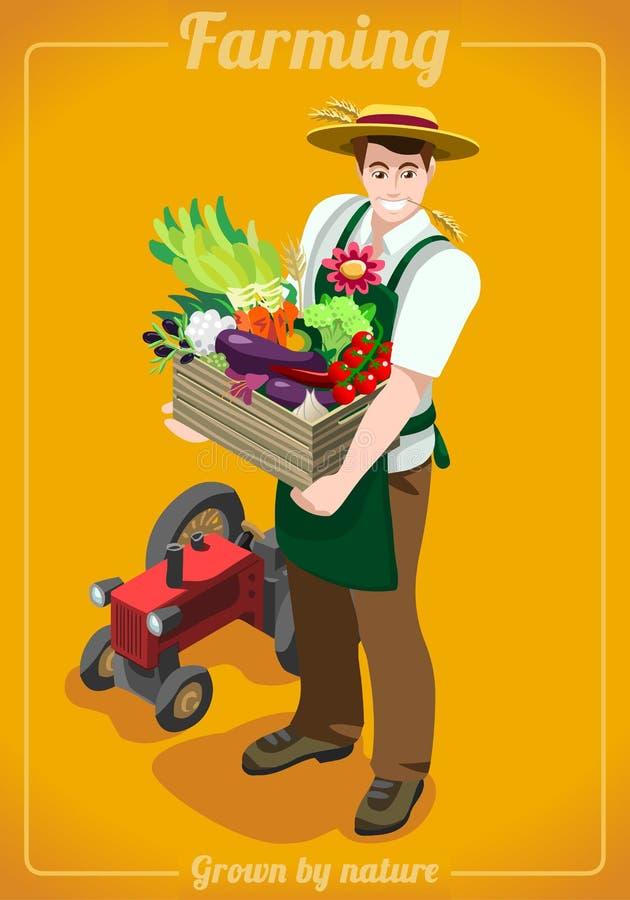 农场为等量的人服务 库存例证