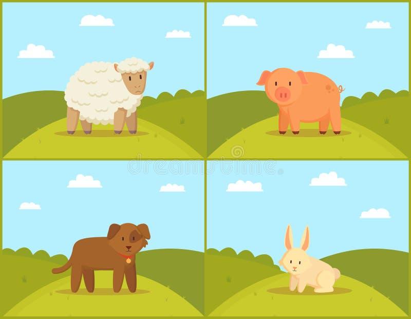 农场和家畜在绿色草甸背景 库存例证