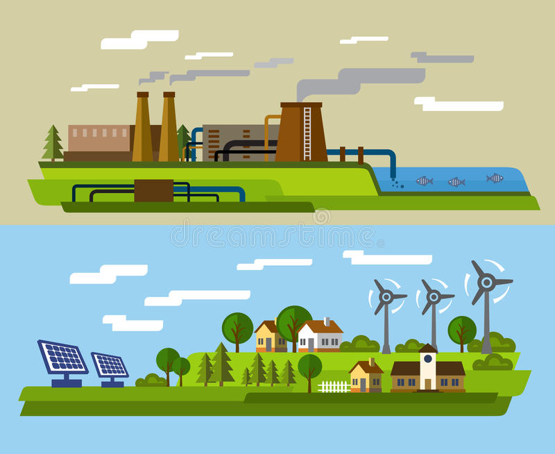 农场和工厂 向量例证