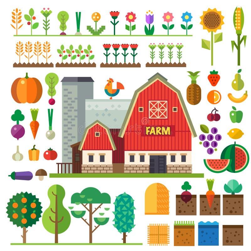 农场在村庄 比赛的元素 向量例证