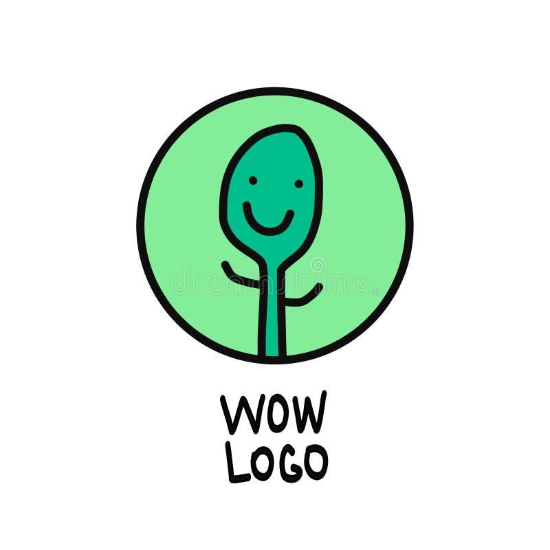 农场经营生态素食主义者设计的绿色植物微笑的手拉的商标 向量例证