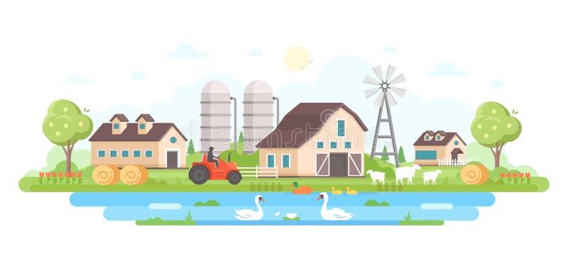 农场-现代平的设计样式传染媒介例证 向量例证
