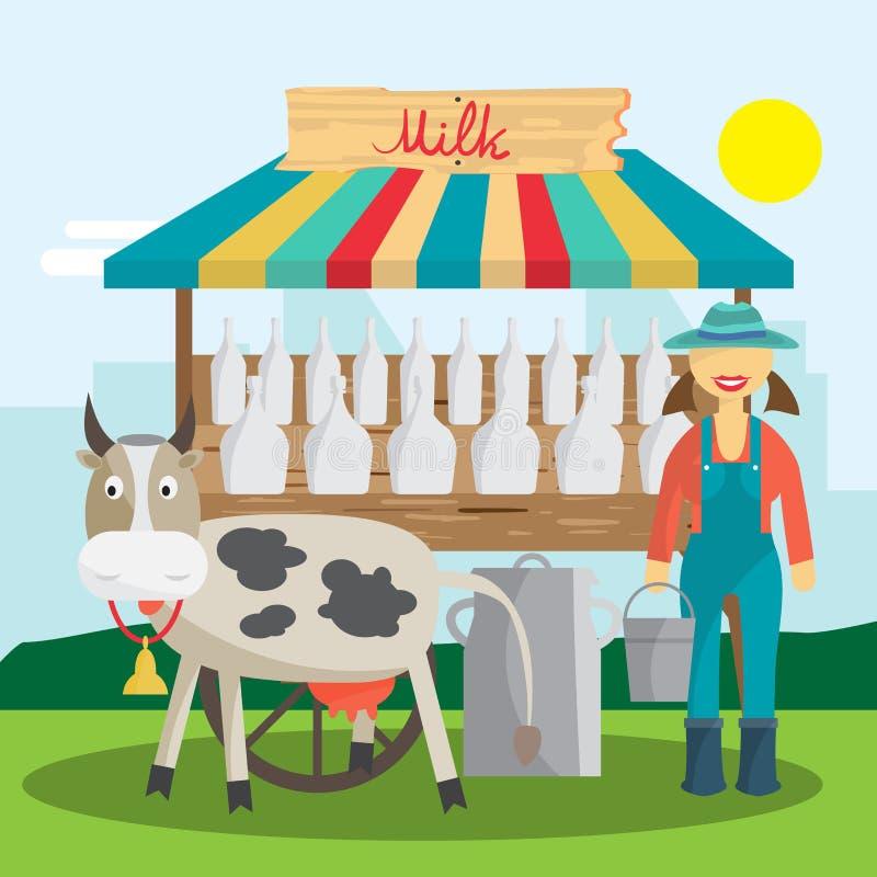 农场主销售奶制品在地方市场上 妇女产物商店 皇族释放例证
