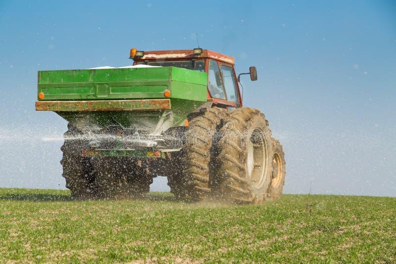 农夫与氮气,磷,钾肥料的施肥麦子 库存照片