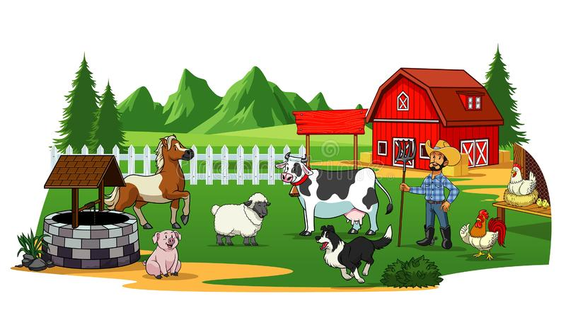 农夫和动物在农场 皇族释放例证