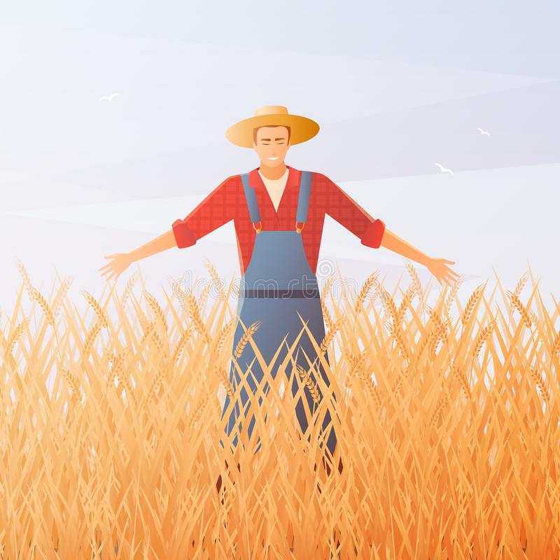 农夫和庄稼收获平的构成 向量例证