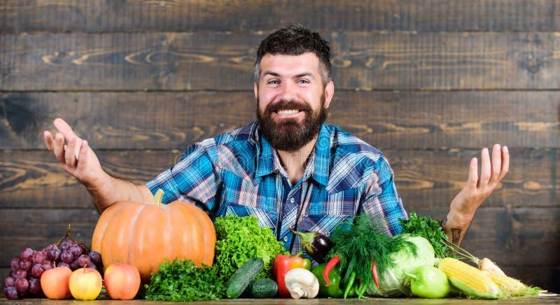农夫土气样式人 自然食物 素食生活方式概念 人有胡子的农夫收获木背景 库存图片