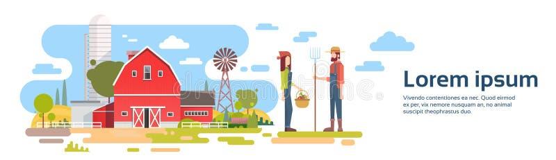 农夫在大农场前的夫妇立场有议院的,农田乡下横幅 皇族释放例证