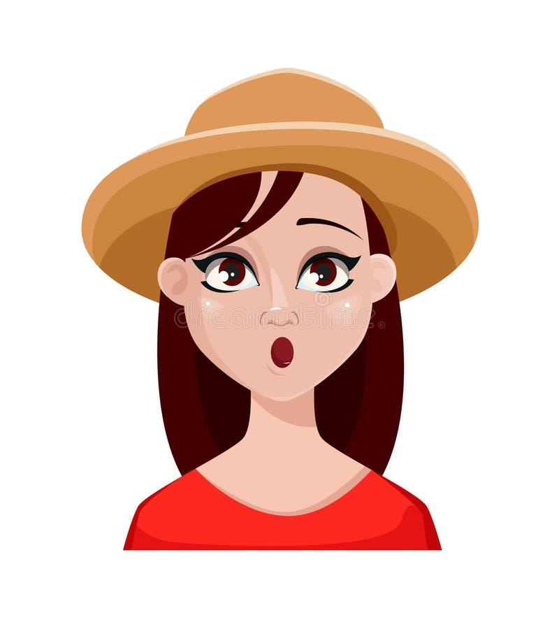 农夫妇女面孔表示帽子的 库存例证