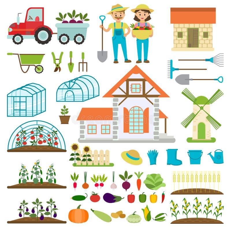 农夫家庭和农厂象花匠家庭有各种各样的植物健康有机食品传染媒介的字符农夫 库存例证