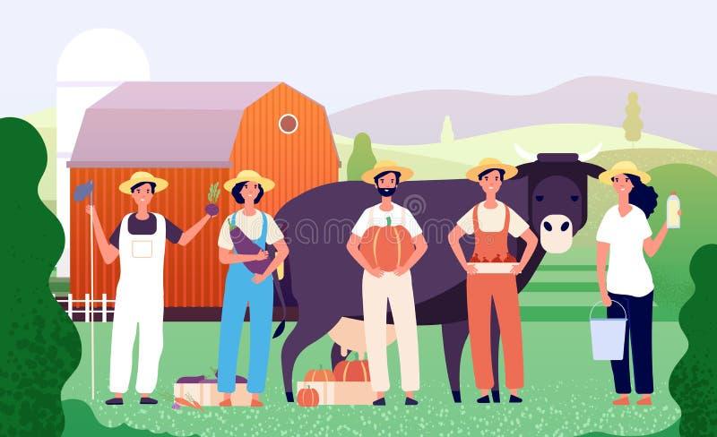 农夫小组 农业工作者,农夫与新鲜的农厂食物一起的队身分在领域 农业传染媒介 皇族释放例证