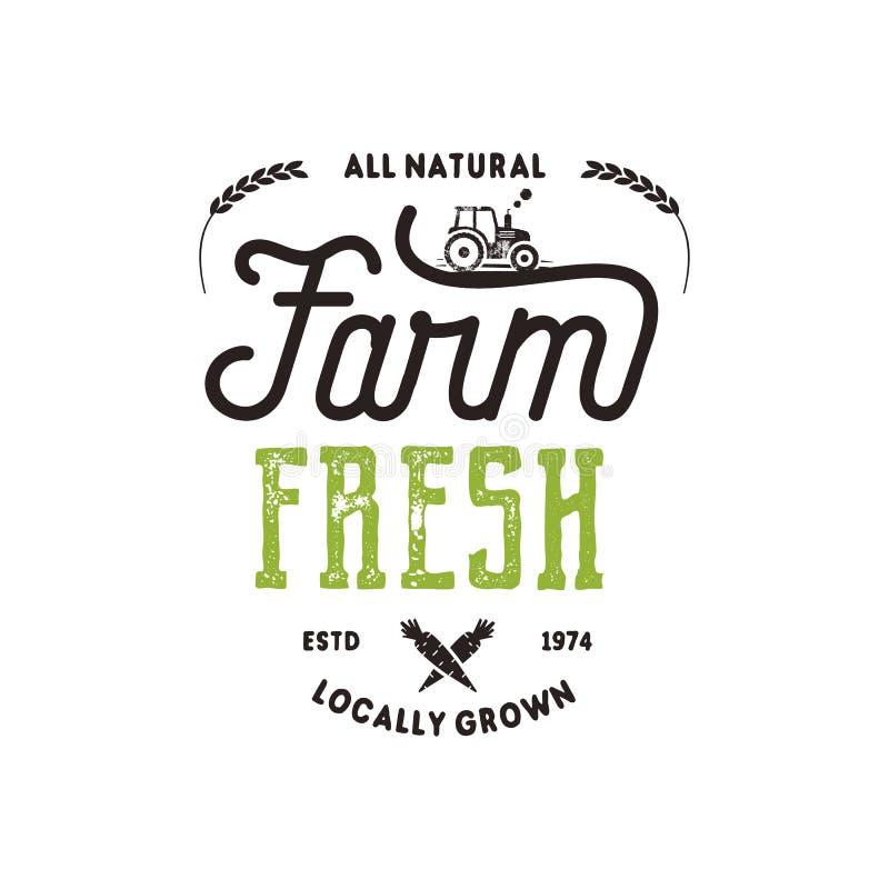 农夫市场印刷术徽章 新和地方产品商标模板 在黑色和绿色的印刷eco农厂权威 库存例证