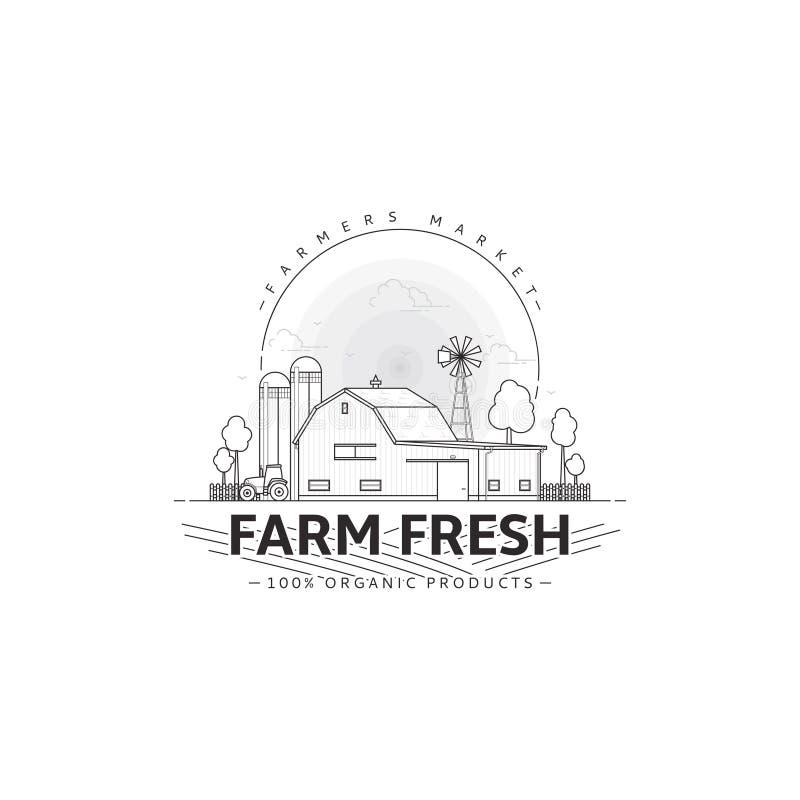 农夫市场商标模板 库存例证