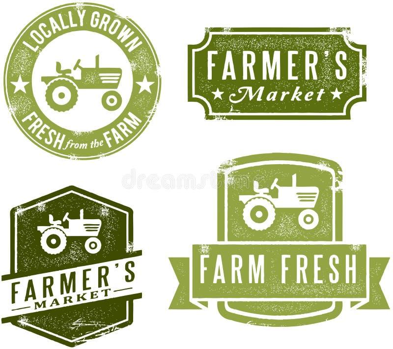农夫市场标记样式葡萄酒 库存例证