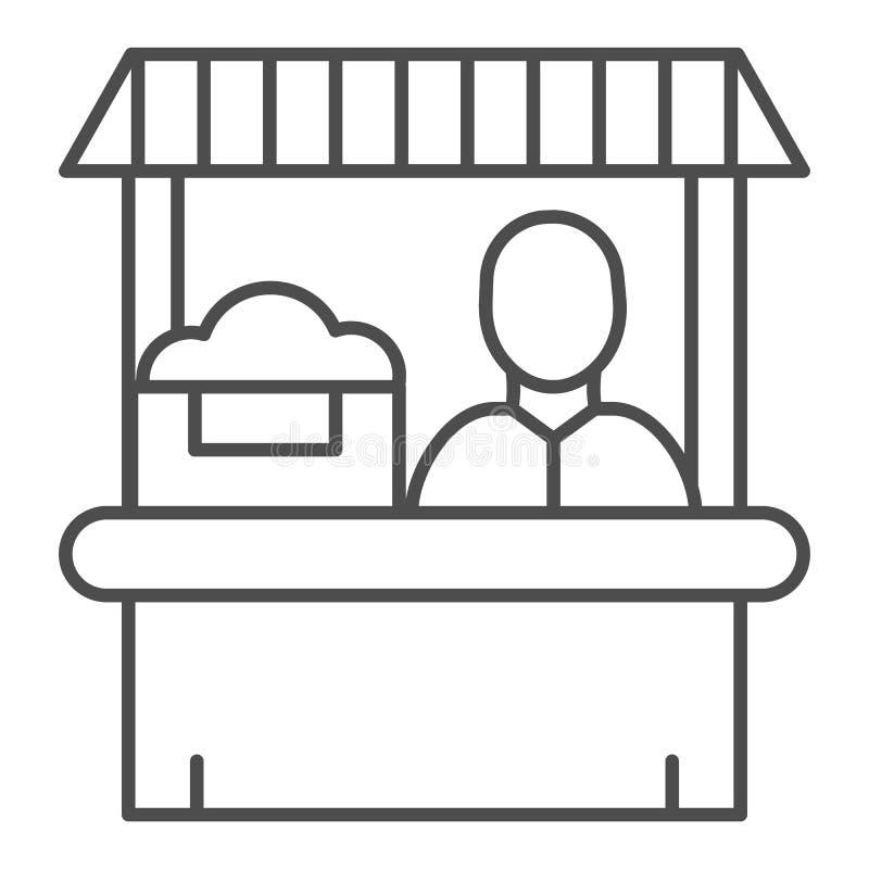 农夫市场稀薄的线象 卖主在白色隔绝的传染媒介例证 商店概述样式设计,设计为网 向量例证