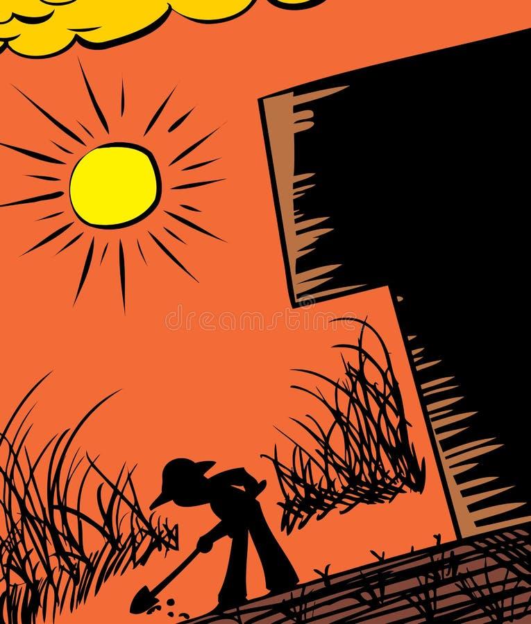 农夫开掘的剪影 向量例证