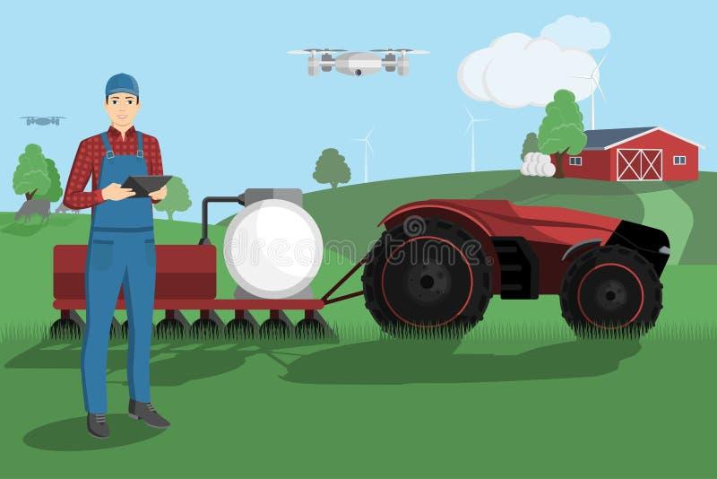 农夫控制一台自治拖拉机 皇族释放例证