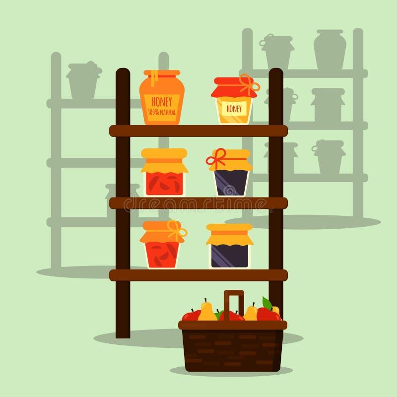 农夫本机市场 站立或失去作用与蜂蜜、果酱和汁液瓶子 篮子用果子 现代平的传染媒介例证 向量例证