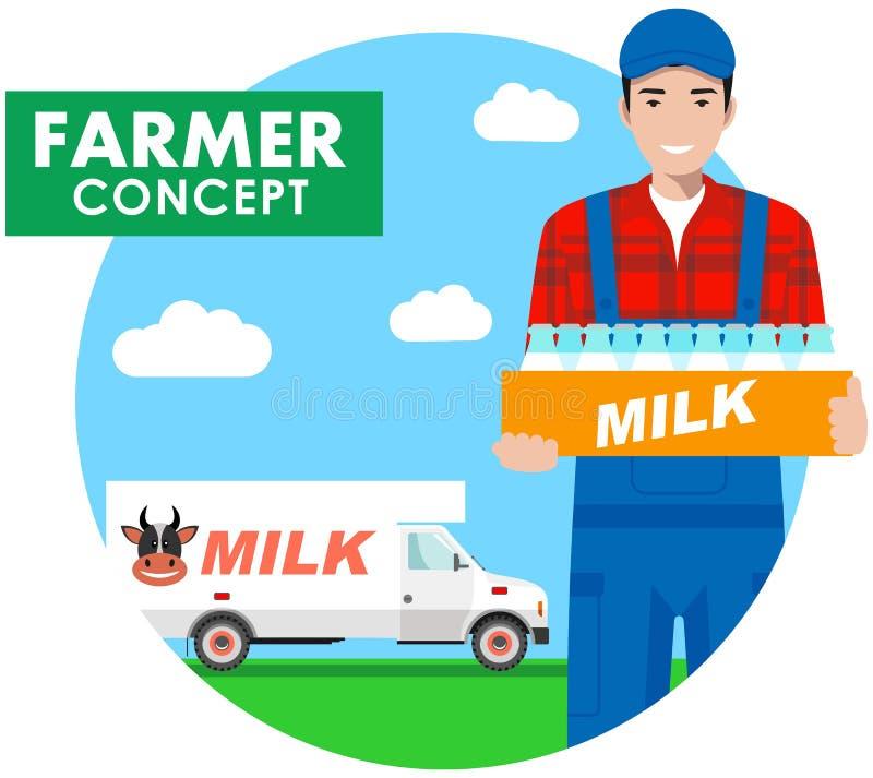 农夫概念 司机,总体的送牛奶者的详细的例证在与牛奶卡车的背景在平的样式 向量 库存例证
