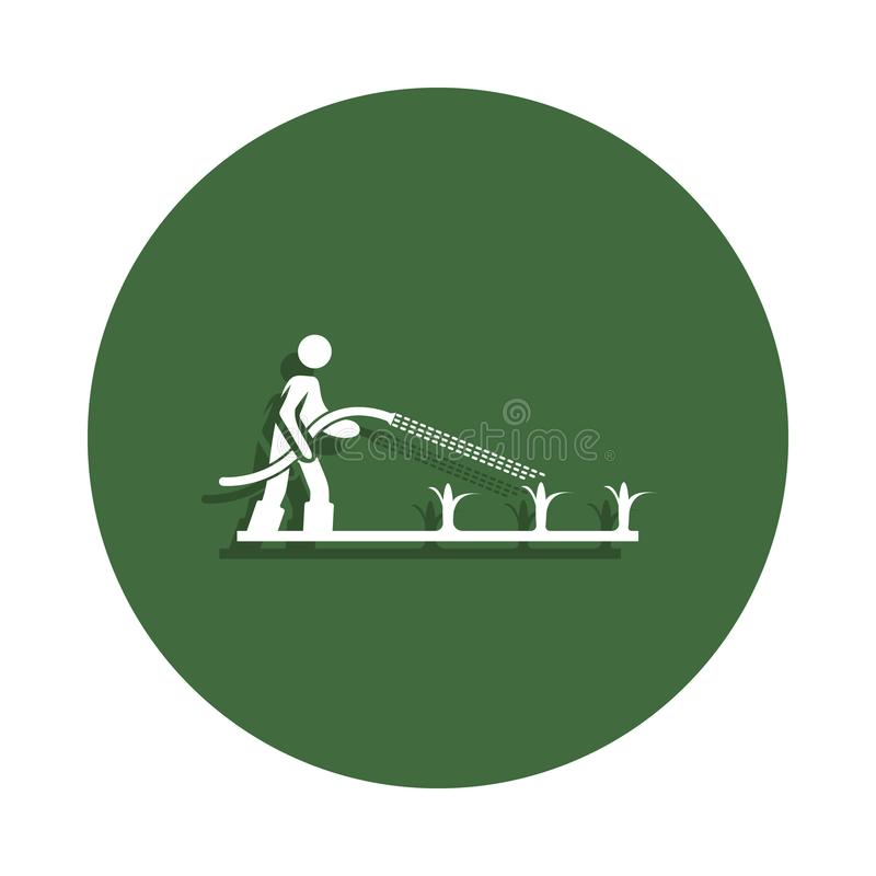 农夫浇灌在徽章样式的幼木象 一农厂汇集象可以为UI, UX使用 库存例证