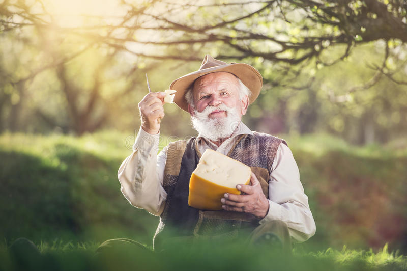 农夫用乳酪 库存照片