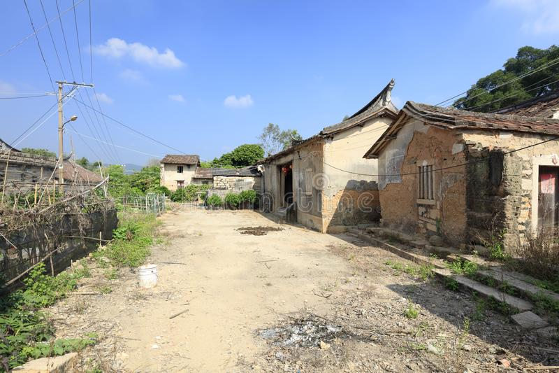 农夫破旧的石房子在zhaojiabao村庄,多孔黏土rgb 免版税库存照片