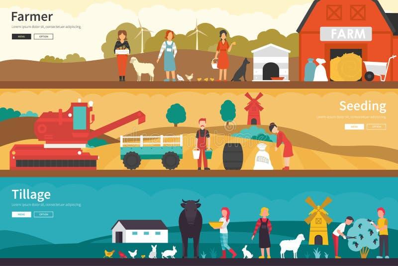 农夫种子耕种平展内部室外概念网 库存例证