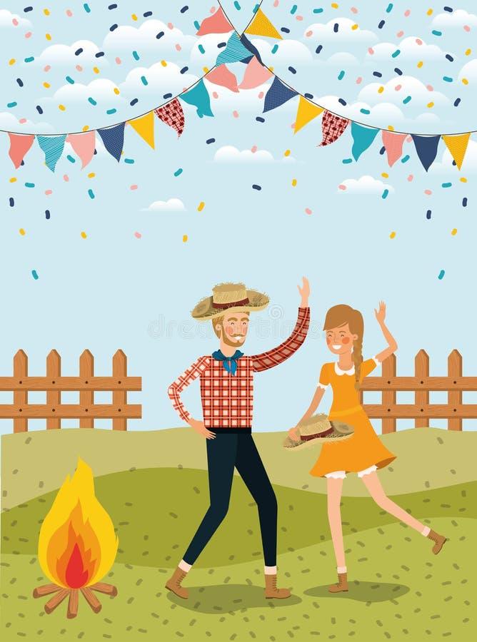 农夫结合庆祝与诗歌选和篱芭 皇族释放例证