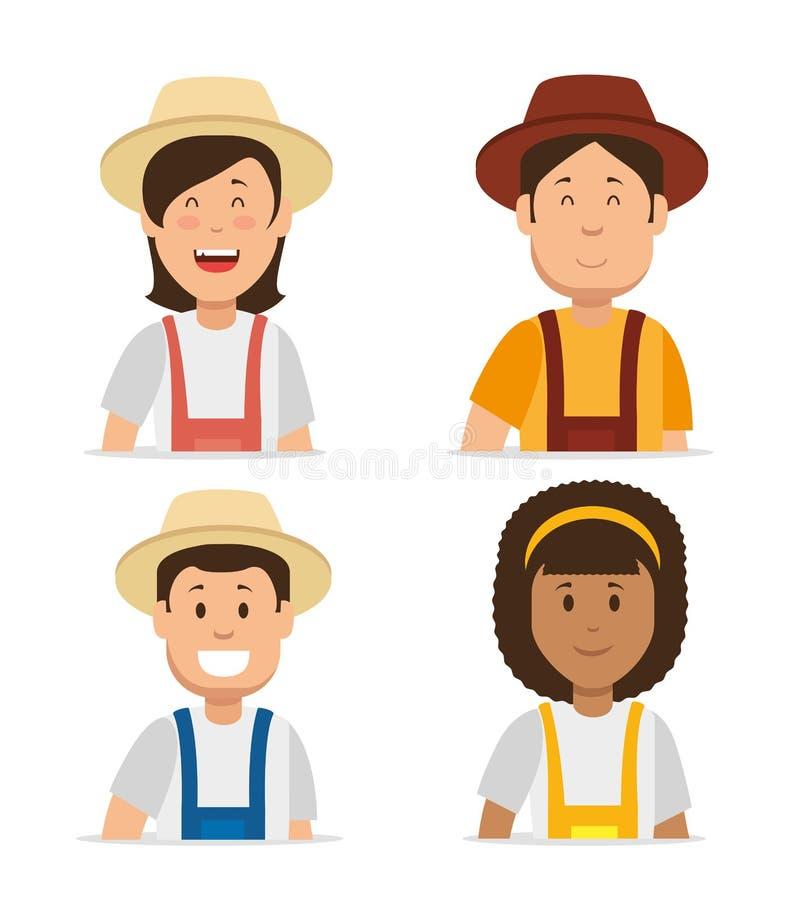 农夫形象_农夫花匠动画片人年轻男性和妇女形象导航例证图形设计
