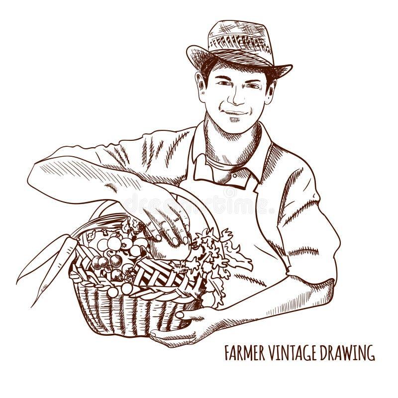 农夫简笔画_农夫葡萄酒图画:传染媒介手拉的例证