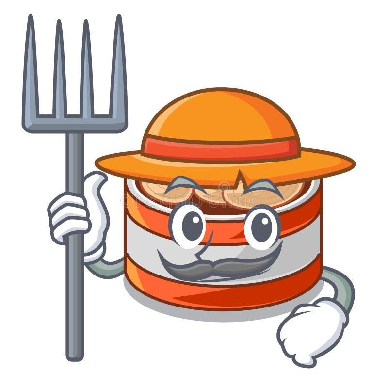 农夫装金枪鱼于罐中隔绝与在吉祥人 皇族释放例证