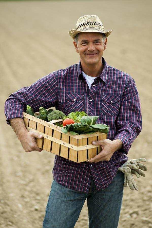 农夫运载的蔬菜 免版税库存照片
