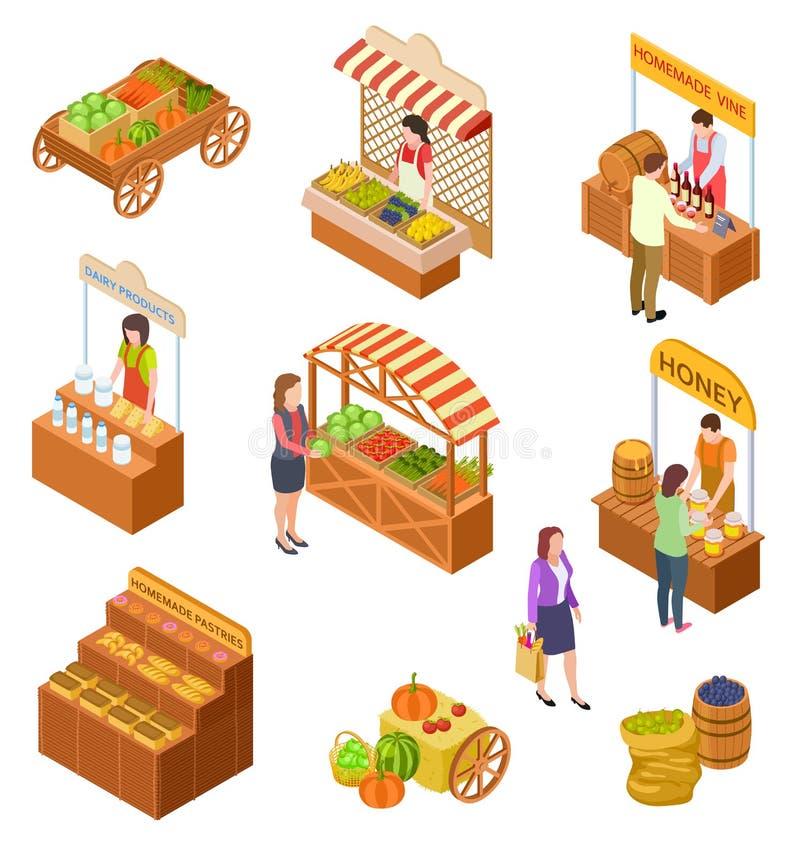 农夫销售等量 人们卖并且买传统膳食、菜和果子在食物市场有摊位的3d 向量例证