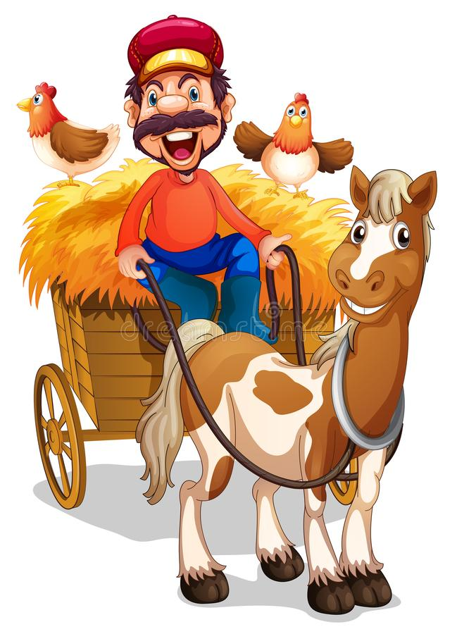 农夫骑乘马推车 皇族释放例证