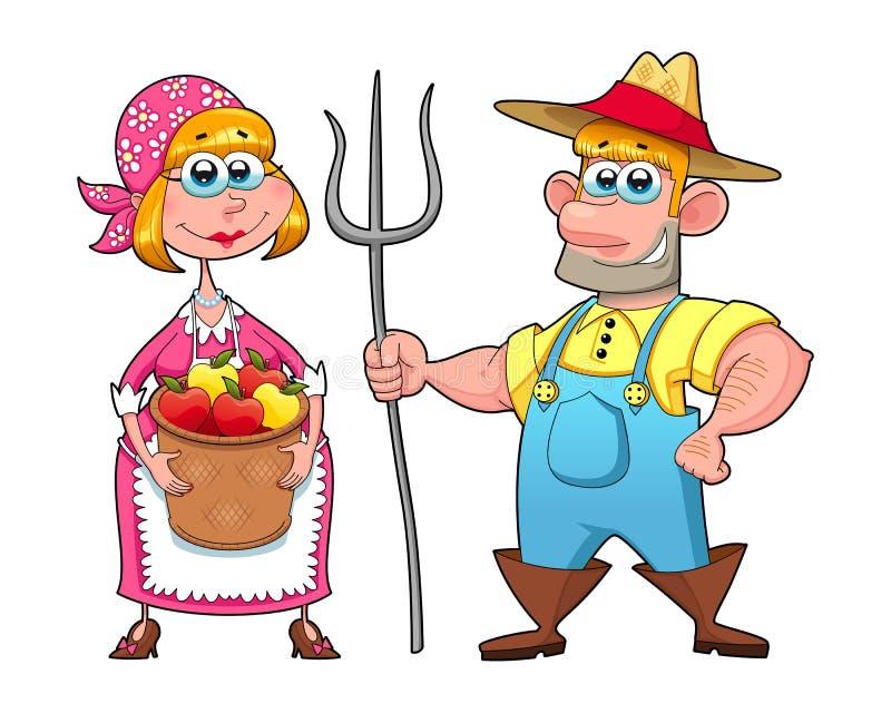 农夫滑稽的夫妇  向量例证
